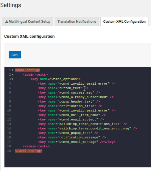 Custom XML Configuration in the WPML plugin