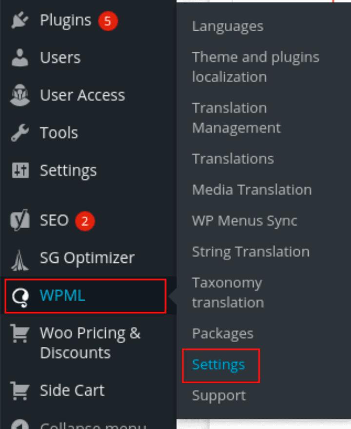 WPML > Settings Page