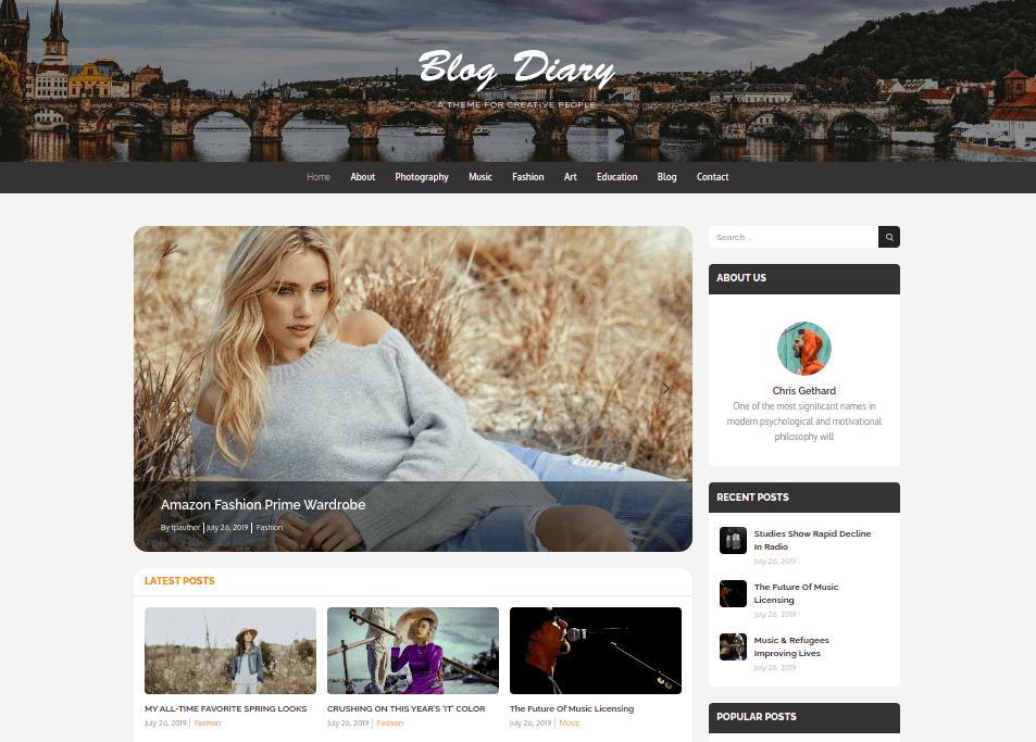 blog Diary WordPress Theme