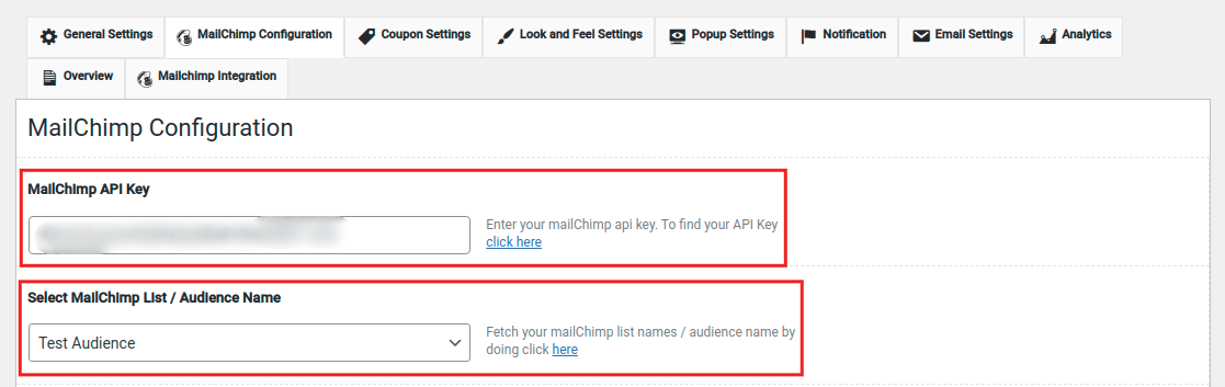 In the MailChimp Configuration section, check that the MailChimp API Key and Audience Name are both selected.