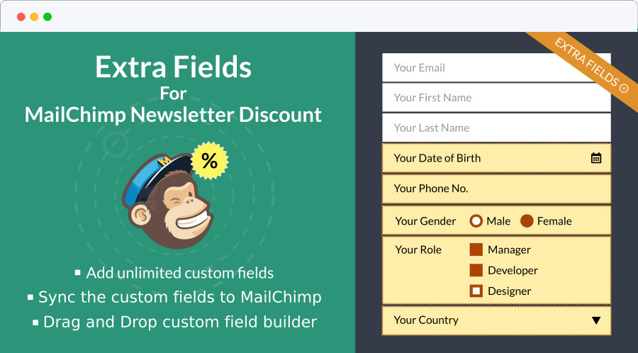 Extra Fields For MailChimp Newsletter Discount